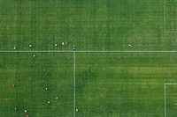 Aerial view of football match