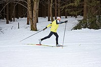 Senior in winter on snow cross_country skiing