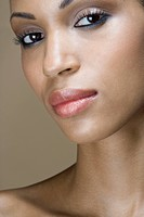 A portrait of a woman wearing make_up
