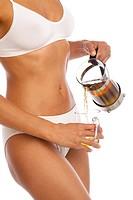 Woman green tea leaness