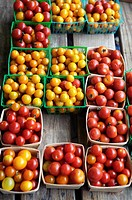 Crates of multi colored tomatoes, Nashville, Tennessee, USA