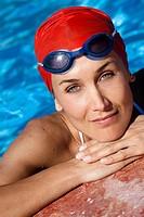 Woman pool portrait