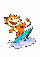 A lion surfing