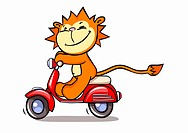 A lion on a motor scooter