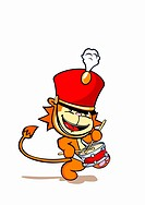 A lion wearing a marching band hat and playing a snare drum