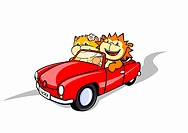 A lion and a cat in a convertible car