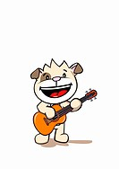 A dog playing an acoustic guitar