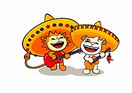 A lion and a dog wearing sombreros and playing guitars