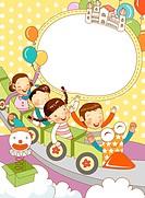 Children traveling in toy train