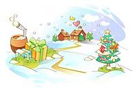 Christmas tree by Christmas gifts