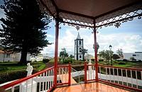 Clock tower, Torre de Relogio, and garden, Horta, Faial Island, Azores, Portugal