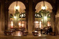 Caffe Florian at night, St Mark´s Square, Venice, Italy, Europe
