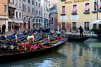 Gondolas at Bacino Orseolo Servizio Gondole, Venice, Italy, Europe