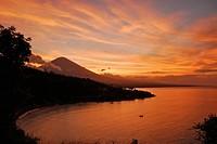 Sunset at the coast and view at Gunung Agung volcano, Bali, Indonesia, Asia