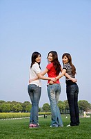 Three young women standing on the lawn with hands on hip