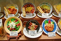 Kyoto, Japan, plastic food plates on display in restaurant window