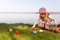 girl finding easter eggs