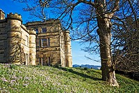 Scenic view of tudorian castle, Willersley, Derbyshire, England, UK