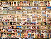 Postcards on display, Jewtown, Cochin, Kerala, India