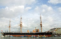 Museum ship ´HMS Warrior´, harbour, Portsmouth, Hampshire, England