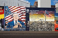 International wall murals in the republican falls road area of west belfast Northern Ireland. This mural is an anti George Bush and anti war in Iraq m...