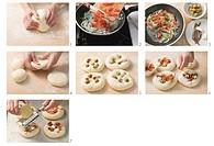 Making sfincione di Caltanisetta small cheese pizzas