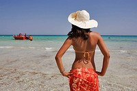 Tunisia, Djerba, beach of Sidi_Mehres, young woman