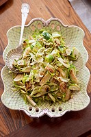 Sliced Brussels Sprouts on Serving Platter, Serving Spoon
