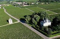 France, Gironde, Pauillac, the estate of Chateau_Latour in the region of Medoc where a wine premier cru is produced aerial view