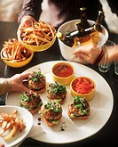 Party Scene with Burgers and Fries