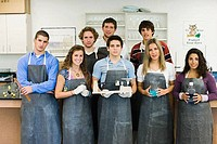 Portrait of students in a college laboratory