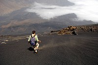 Cape Verde, Fogo Island, Pico Volcano 9 281,50 ft, steep descent in pozzolanas fine scorias