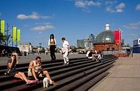 United Kingdom, London, Greenwich, Thames Side, pedestrian tunnel entrance since 1902