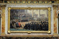 France, Yvelines, Chateau de Versailles, listed as World Heritage by UNESCO, Midi Wing, semicircular auditorium of the Parliament Congress, painting c...