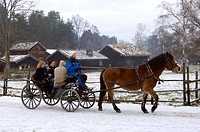 Norway, Oslo, Norsk Folkemuseum Norwegian Folk Museum at Bygdoy, horse_drawn carriage