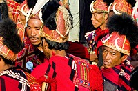 Myanmar Burma, Sagaing Division, village of Leshi, Nagas from Konyak tribe during the traditional ceremony of the lifting of the pillar
