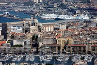 France, Bouches du Rhone, Marseille, Vieux Port, the Major Cathedral and the commercial port