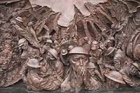 Battle of Britain memorial sculpture by Paul Day on Victoria Embankment, London, England  Opened in September 2005 to celebrate the 65th anniversary o...