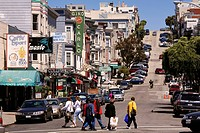 United States, California, San Francisco, North Beach District, Green Street and its restaurants