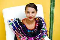 Mexico, Federal District, Mexico City, Coyoacan district, a young Mexican traditional dress of Oaxaca