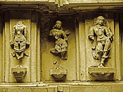 Carved, Ruined sculptures at Lord Shiva´s temple, Bhuleshwar, Yawat, Maharashtra, India