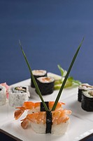 Close_up of various sushi in a plate
