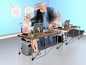 Businessman flirting with secretary