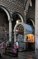 Oldest church foundation of Florence, San Miato al Monte, here the marble tabernacle by Michelozzos in the choir, Firenze, Florence, Tuscany, Italy, E...