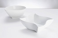 Close_up of two white ceramic bowls