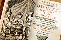 Historical book on coffee, tea and cocoa, about 1740