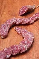 Close_up of sliced salami