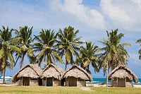 Thatched tourist cabanas, Tigre island, San Blas Islands, Kuna Yala, Panama