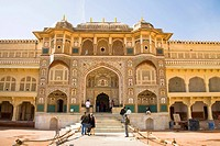 Ganesh Pol, Ganesh Gate, in Amber Palace, also known as Amber Fort, Amber, near Jaipur, Rajasthan, India