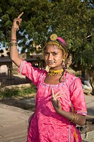Young Indian girl dancing, Jodhpur, Rajasthan, India